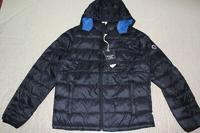 NWT Men Abercrombie & Fitch removable hood packable puffer jacket L Black