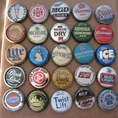 25  Dif Premium Obsolete Old School Usa Beer Caps  Most 1960's-1990's  No Dents