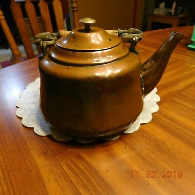 Antique copper and Brass tea kettle with removable lid  Wood & Brass  handle