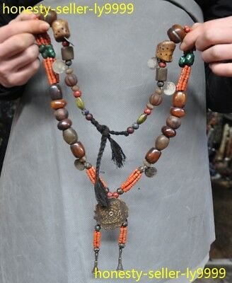 Tibet Buddhism Tibetan silver coral agate shell Beeswax Blessing amulet necklace