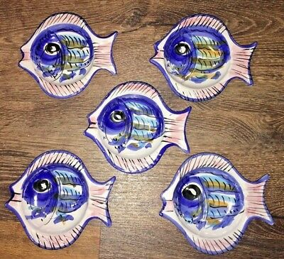 """Vietri Italy Fish 6"""" Snack Plates Set of 5 Hand Painted Solimene il Mare Cucina"""