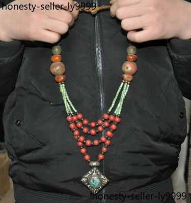 Silver Dzi Beads Agate Coral Turquoise Beeswax Blessing Amulet Pendant Necklace