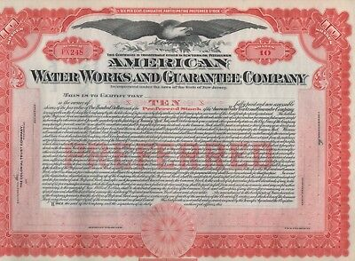 """""""rare"""" - American Water Works And Guarantee Co. - Unissued Red Stock Certificate"""