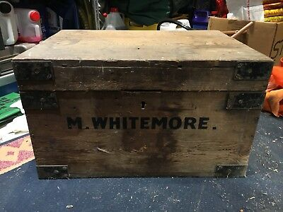 Vintage Old Suitcase Wooden Storage Box Delivery Moving