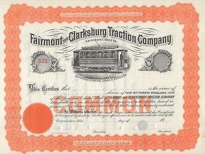 """""""rare"""" - Fairmont And Clarksburg Traction  Company - Unissued  Stock Certificate"""