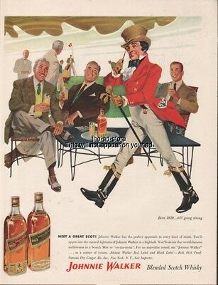 1956 Johnnie Walker Red Black Scotch Golf Country Club Ad 1950s Advertising