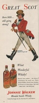 Johnnie Walker Scotch Whisky Whiskey Red Black Label 1955 Great Scot Ad