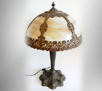 Art nouveau vintage lamp with bent slag glass and brass shade