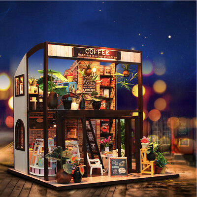 Handcraft DIY Wooden Coffee Toy Dollhouse Vintage Miniature Music LED Light