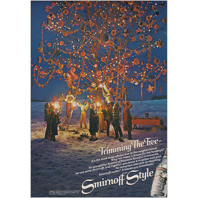 1979 Smirnoff: Trimming the Tree Vintage Print Ad