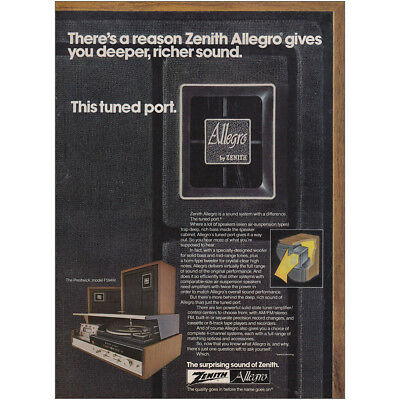 1974 Zenith Allegro Stereo: Gives You Deeper Richer Sound Vintage Print Ad