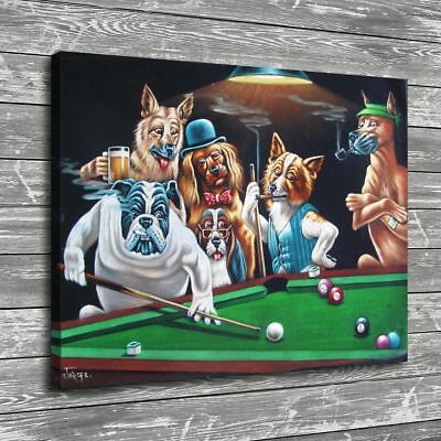 """12""""x16""""Dog Playing Cards Posters HD Canvas Prints Home Room Decor Wall picture"""