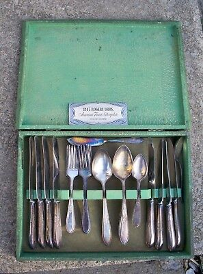 Vintage 33 pc. Wm.Rogers & Son AA Silverplate Silverware with Case & Paper