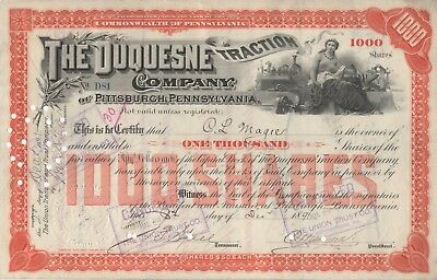 """""""rare"""" - The Duquesne Traction Company - Vintage Stock Certificate - 1891"""