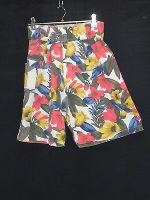 1980's Vintage High Waisted Shorts with Elastic Band in Bright Bold Floral.