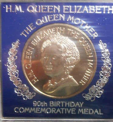 1990 Queen Mother 90th  Birthday  Medal 38mm no plastic collar