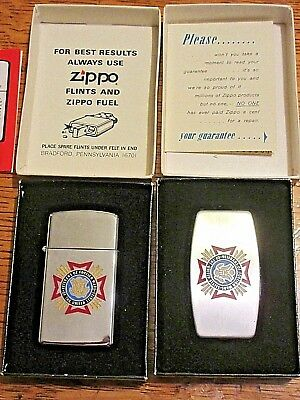 Vintage Zippo Veterans Of Foreign Wars Knife & Slim Lighter Never used in Boxes