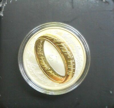 New Zealand 2003 Lord of the Rings 1oz Silver Proof $1 Dollar coin Gold Plated