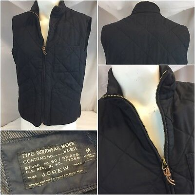J. Crew Outerwear Vest Jacket M Black Thermore Quilted Full Zip YGI L8-654