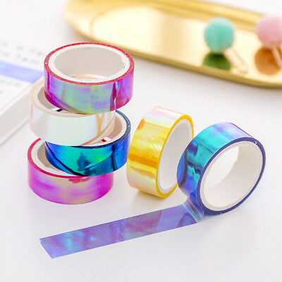 2Pcs Holographic Shining Decorative Rainbow Film Tape DIY Scrapbooking Stickers