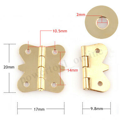 10/20 PCS Mini Butterfly Iron Hinge Brass Color For Cupboard Jewelry Box