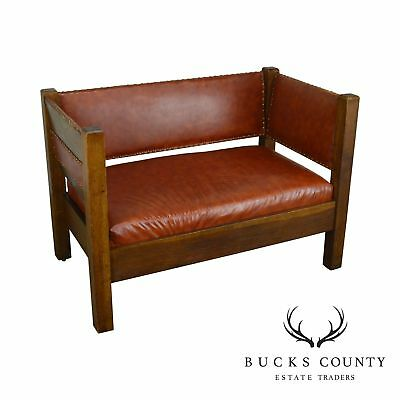 Incredible Mission Oak Antique Leather Settee Loveseat 1 196 00 Caraccident5 Cool Chair Designs And Ideas Caraccident5Info