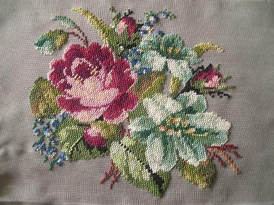 """vintage completed needlepoint roses, flowers on nylon canvas 10""""x6.5"""""""