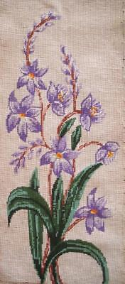 """Vintage Completed cotton needlepoint purple flowers on off-white 26""""x10.5"""""""
