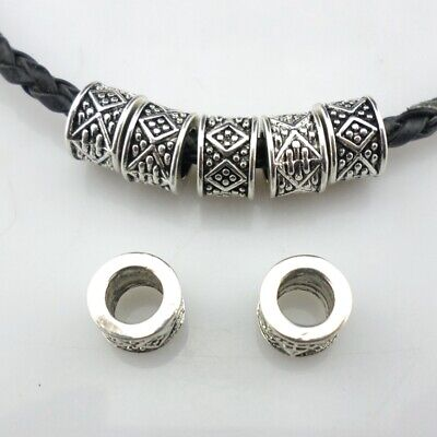 20/60pcs Tibetan Silver Round Tube Charm Loose Spacer Beads Findings