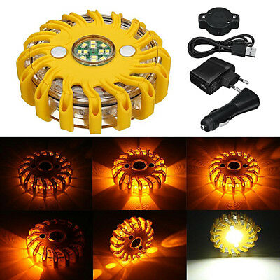 1x Rechargeable 16 LED Magnetic Emergency Hazard Warning Safety Road Light 9Mode