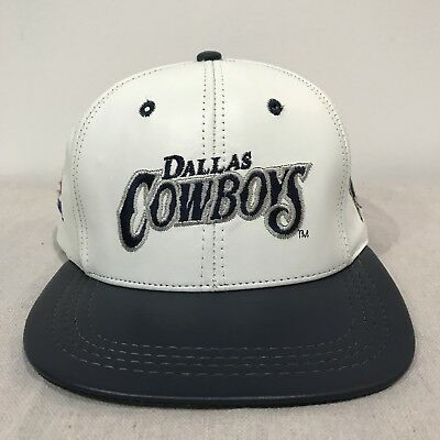 5280e37b8654f ... best dallas cowboys leather hat cap snapback vintage white blue made in  usa 1990s vtg 83e1c