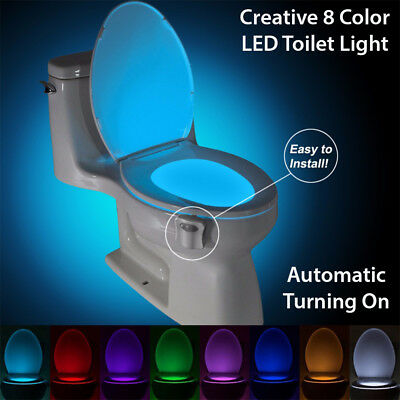Toilet Seat LED Light Night Lamp with Motion Sensor Bathroom WC 8 COLORS