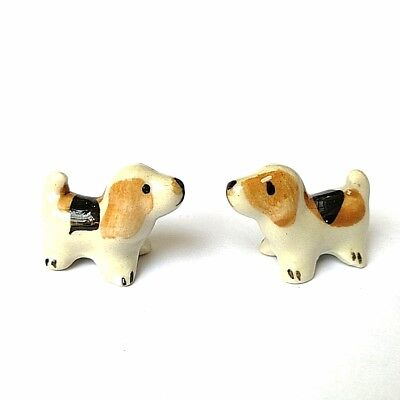 2 Mini Brown- Black-White Puppy Ceramic Miniature Showcase Collectible Souvenirs