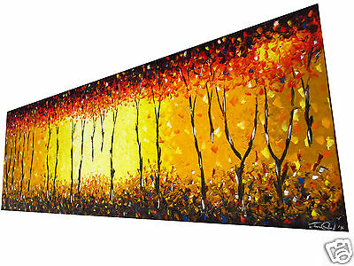 oil Painting abstract Art tree Bush Fire Dream Large Textured Australia COA