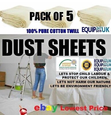 5 x NEW PROFESSIONAL COTTON DUST SHEETS PAINTING DECORATING ( FIVE PACK )