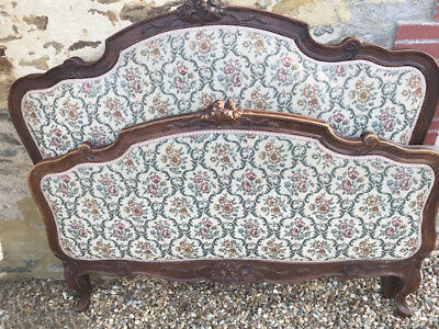 Beautiful Old French Louis Xv Style Capitone Double Bed