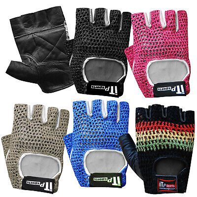 Leather Mesh Weight Lifting Gloves Gym Training Exercise  Body Building Straps