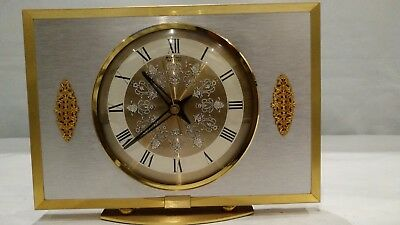 Vintage Retro Bentima Quartz Mantel Desk Clock Floral Embellished Beautiful