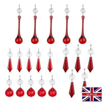 20 Chandelier Red Glass Crystals Sun Catcher Leaf Drops Prisms Garden Droplets