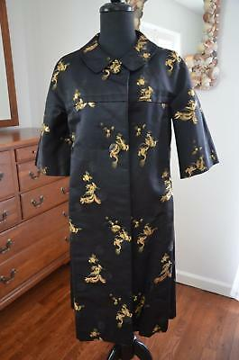 Vtg 60s GENE LOO Custom Heavy Black Silk & Gold Embroidered Evening Opera Coat S