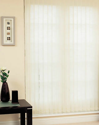 DIY Vertical Blind Kit, Complete Set with 3.5 Inch slats, stripe fabric, whit...