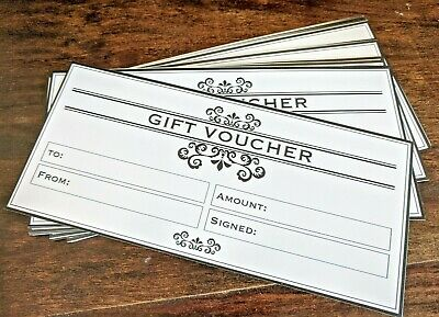 12 x Blank Gift Voucher Certificates  Generic Gift Cards DL  Business Promotions