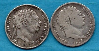 1816 & 1817 KING GEORGE III SIXPENCE SILVER COINS. 2 x TANNER. 6d.