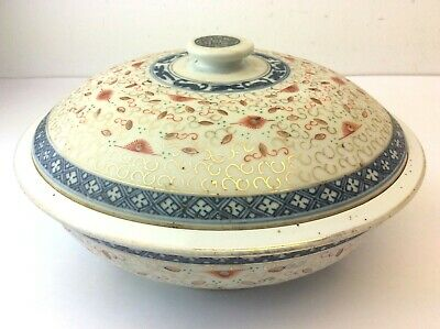 Chinese China Oriental Hand Painted Blue White Porcelain Steamer Bowl Casserole