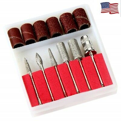 US 6x Professional Nail Art Electric Files Drill Bits Manicure Machine Tool Set