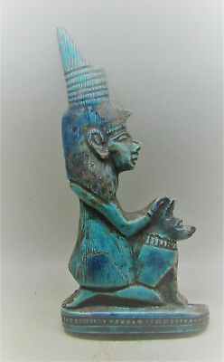 Beautiful Ancient Egyptian Glazed Faience Statuette Seated Worshipper W/bastet