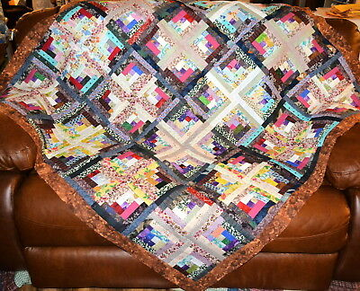 """QUILT TOP-SCRAPPY Log Cabins in a Multitude of Colors of 1 1/2"""" Strips, 58"""" Sq."""