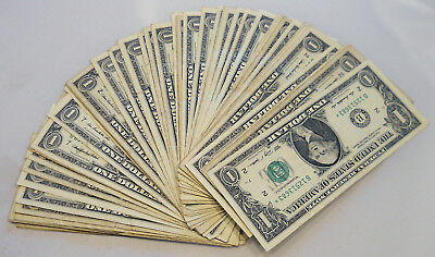 Lot of 50 circulated $1 Federal Reserve Star Notes random years and series