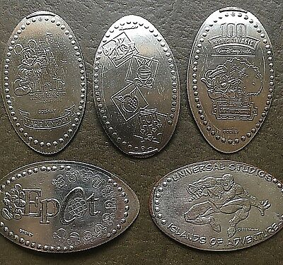 5 Walt Disney World Pressed Smashed Elongated Quarters