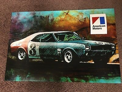 1968 Amc Javelin Red White Blue Scca Trans Am #3 Racing 12X18 In Photo Poster